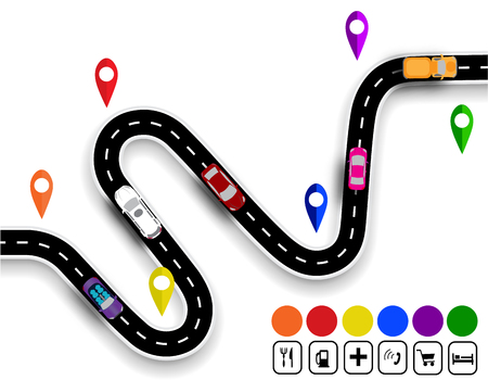 specifies: Winding road with signs. The movement of cars. The path specifies the navigator.  illustration Stock Photo
