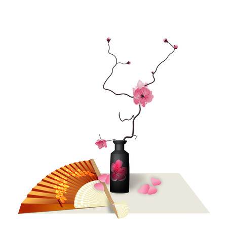 Ikebana. Composition. Figure Sakura flower. Fan. Isolated on white background with shadow.  illustration