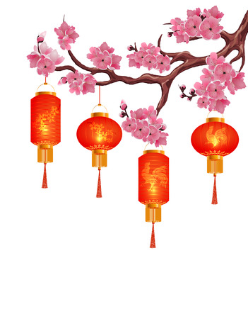 tissue paper art: Four red Chinese lanterns on a branch of cherry with pink flowers. Isolated on white background. Vector illustration