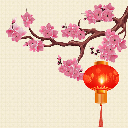 Red Chinese lanterns hanging on a branch of cherry with pink flowers. The round shape with a picture of a lotus. Vector illustration Illustration