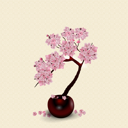 Ikebana. Composition. Figure lush Sakura flower. Against the background of stylized rice paper with shadow.  illustration