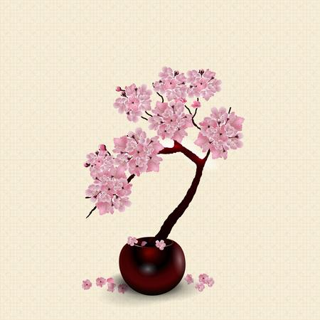 Ikebana. Samenstelling. Figuur weelderige Sakura bloem. Tegen de achtergrond van gestileerd rijstpapier met schaduw. illustratie