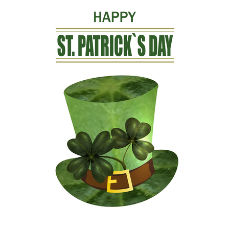 Four and three leaf clovers, green hat. Greeting inscription St. Patrick s Day. Isolated on white background. Vector illustration Çizim