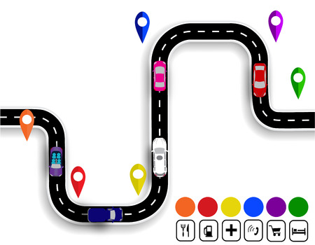 specifies: Winding road with signs. Stylized driveshaft. Movement of vehicles. The path specifies the navigator. Vector illustration