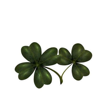 st patrick s day: Four and three leaves clover. The symbol of St. Patrick s Day with. Isolated on white background. Vector illustration