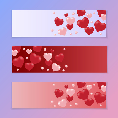 Leaflets or an invitation to a holiday Valentine s Day. Red and pink hearts on a gradient background. Vector illustration