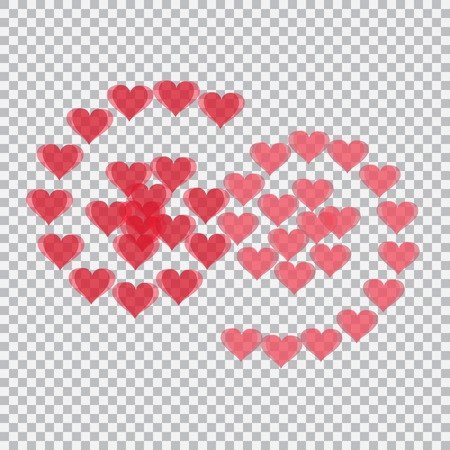 Red hearts translucent arranged in the form of numbers 69. Checker background. Valentines Day. Vector illustration