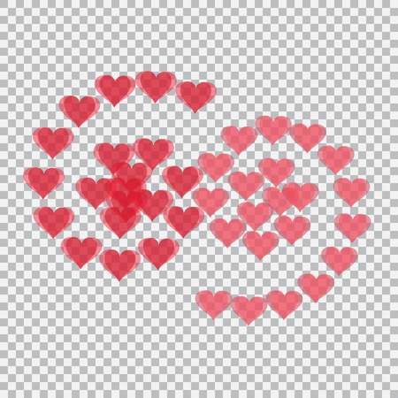 Red hearts translucent arranged in the form of numbers 69. Checker background. Valentines Day.  illustration
