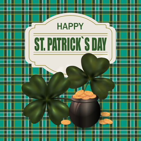 st patrick s day: Pot with gold coins and clover image. Greeting inscription St. Patrick s Day. Background in the Irish style.  illustration