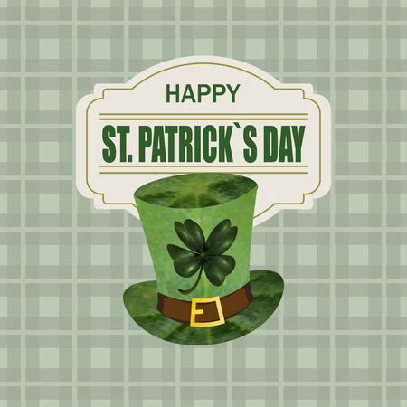 st patrick s day: Green hat with clover . Greeting inscription St. Patrick s Day. Isolated on cell background.  illustration Stock Photo