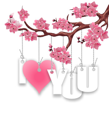 Stylized inscription I love you. A branch of cherry blossoms. Red heart on a white background. Postcard in honor of St. Valentina s Day.  illustration Stock Photo