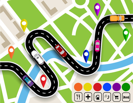 specifies: Winding road with signs. City map. Movement of vehicles. The path specifies the navigator.  illustration