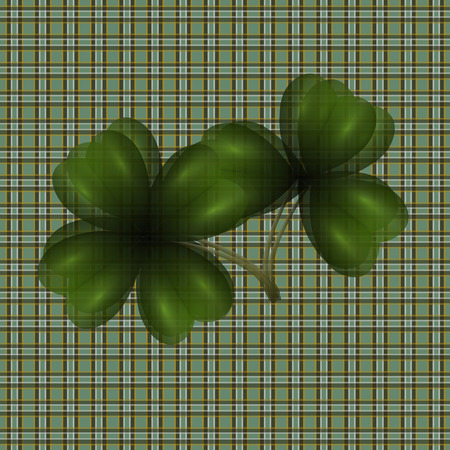 Image of leaf clover. Translucent. Background in the cell in the Irish style. Vector illustration Illustration