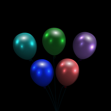 semitransparent: Festive balloons. Realistic, glossy, colorful. Isolated on a black background Vector illustration