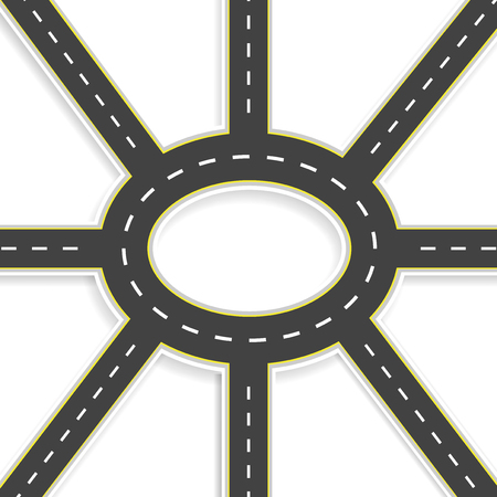 Top view of 3D perspective. Road interchange of eight roads and roundabouts. Vector illustration Stock Photo