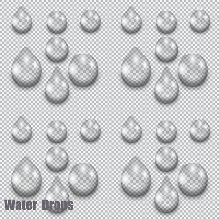 A large set of transparent water drops on checkered background,  illustration Imagens