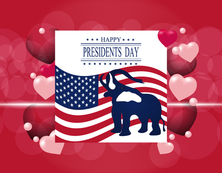 presidential: Presidents Day. Greeting card. The elephant in the background of the US flag. The inscription with the wishes happiness.  illustration