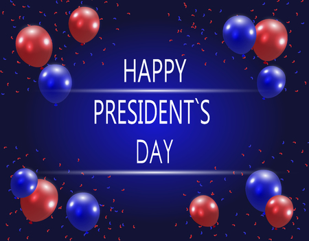presidency: Balloons on a blue gradient background. Inscription. Stylized ph in US colors.  illustration