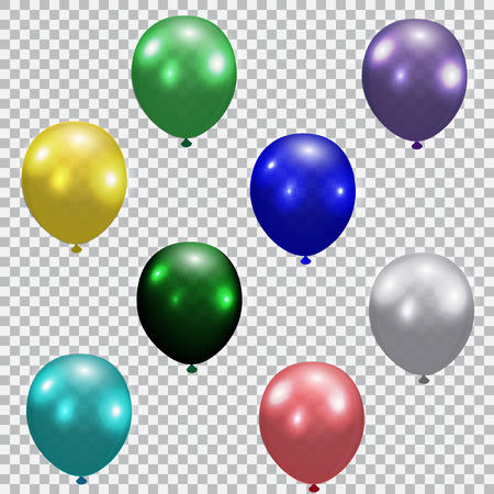 semitransparent: Set of celebratory balloons. Realistic, semi-transparent, colorful. Checkered background  illustration