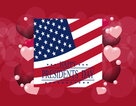 presidential: Presidents Day. Greeting card or invitation. USA flag on the background of hearts. The inscription with the wishes of happiness.  illustration