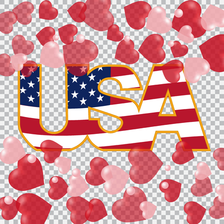 Presidents Day. US inscription on the translucent background hearts top and bottom. Checkered.  illustration Stock Photo