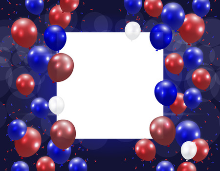 presidency: Balloons on a blue background. Place for an inscription. Stylized ph in US colors.  illustration
