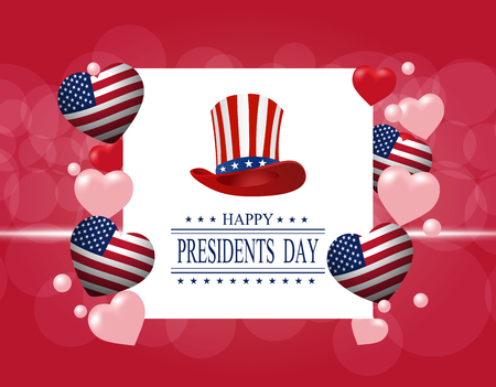 Presidents Day. Greeting card. The inscription with the wishes of happiness. Stylized hat and hearts in the colors of the flag.  illustration