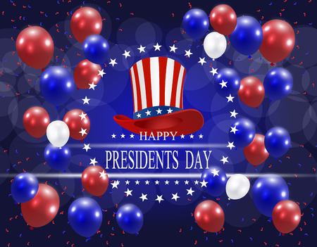 Presidents Day. Greeting card stylized. The hat and the inscription with the wishes of happiness on a background of balloons.  illustration