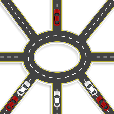 Top view of 3D perspective. Road interchange of eight roads and roundabouts. Cars. Vector illustration Illustration