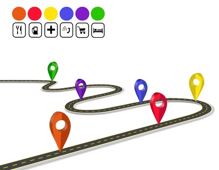 Infographics. 3d mark navigator. Winding road with markings. A perspective view.  illustration Stock Photo