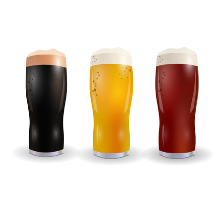 Image of three wine glasses with bright, red and dark beer. Isolated on white background. Vector illustration