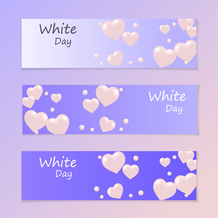 White Day. Flyer or invitation. Air heart. Flying balloons. Vector illustration