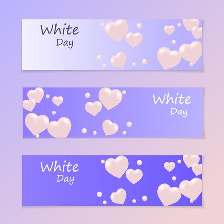 White Day. Flyer or invitation. Air heart. Flying balloons. Vector illustration