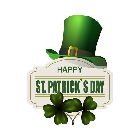 Green hat. Two leaf clover. Happy St. Patrick s Day inscription. Isolated on white background.  illustration Stock Photo