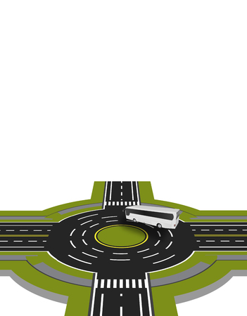 Showed a bus at the crossroads with a circular motion with the marking. A perspective view.  illustration