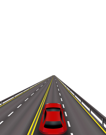 High-speed highway. Red cars on the road. In perspective. Isolated on white background.  illustration