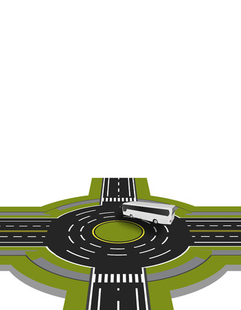 Showed a bus at the crossroads with a circular motion with the marking. A perspective view. Vector illustration