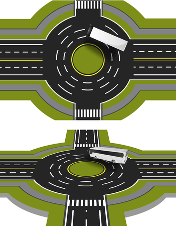 Showed a bus at the crossroads with a circular motion with the marking. A perspective view and top. Departure on secondary street. Vector illustration