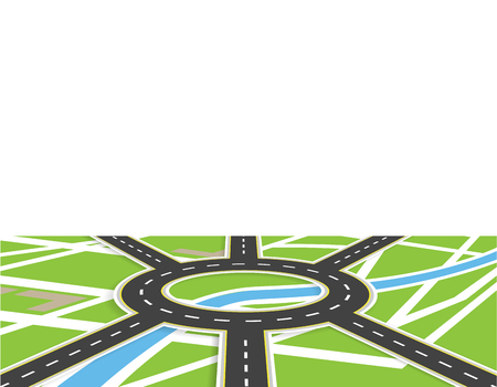 Crossroads of roads with markings. Roundabout Circulation. View in perspective with shadow. Local map. Vector illustration Illustration