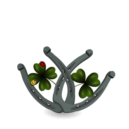 Two sheets of clover and horseshoe. St.Patrick s Day. Isolated on white background.  illustration