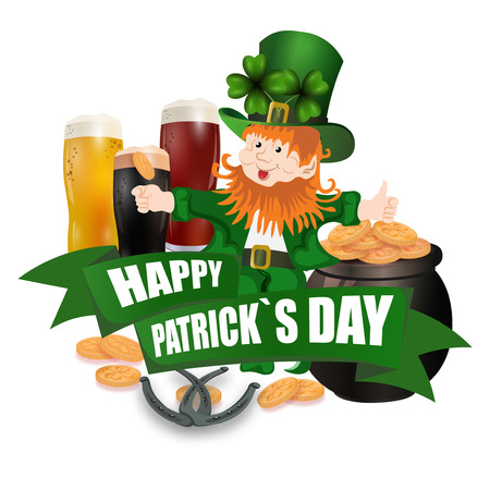 Leprechaun in a green hat. Three kinds of beer. Pot with coins. Two leaves of clover. Horseshoes. An inscription for St. Patrick s Day. Isolated on white background.  illustration Stock Photo