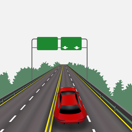highspeed: High-speed highway in perspective. Red car. Isolated on white background. Information signs. Abstract landscape.  illustration