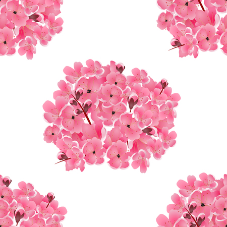 Sakura. Bouquet of pink cherry flowers. Isolated on white. Seamless background. Vector illustration