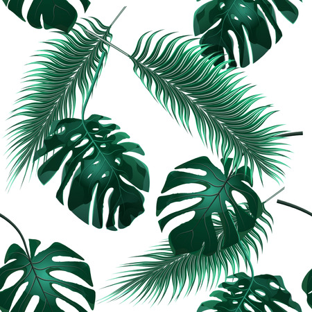 thickets: Tropical palm leaves. Jungle thickets. Seamless floral wallpaper background.  illustration