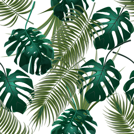 Jungle thickets of tropical palm leaves and monstera. Seamless floral pattern. Isolated on a white background. Vector illustration Çizim