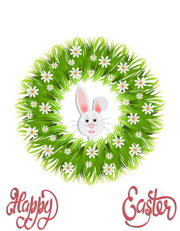 Happy easter. Green wreath of herbs and chamomile. Easter bunny. Vector illustration