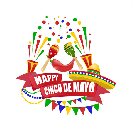 Cinco de Mayo. An inscription with a wish for happiness on the ribbon. Sombrero, flags, maracas and red peppers. illustration Illustration
