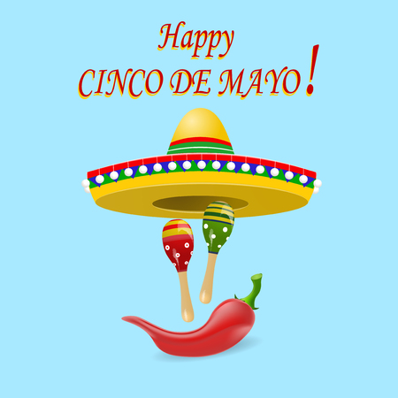 The inscription of the happy Cinco De Mayo. Sombrero, maracas and red peppers. illustration