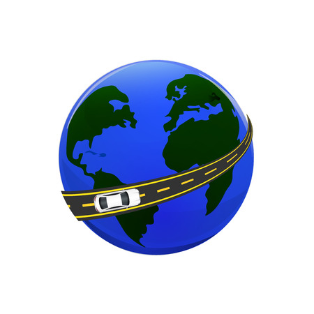 Traveling by car. The globe, the road, the car. illustration Illustration
