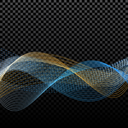 discrete: Light effects. Abstract discrete waves of golden and blue. Harmonics. On a checker background.  illustration